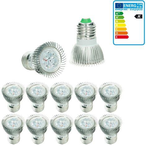 ECD Germany 10x LED Spot 3W E27 - Equivale 20W Halógeno - Ángulo de haz de 30 ° - 217 lúmenes - Blanco frío 6000K - Bombillas LED iluminante