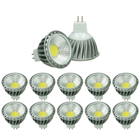 ECD Germany 10x LED Spot 6W COB GU10 - Equivale 40W Halógeno - 220-240V - Ángulo de haz de 60 ° - 378 lúmenes - 2800K Blanco cálido - Lámpara de foco