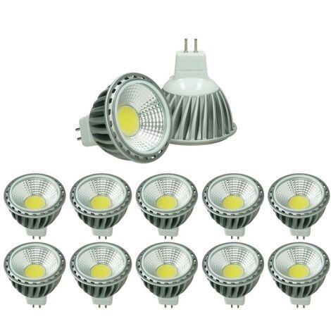 ECD Germany 10x LED Spot 6W COB GU10 - Equivale 40W Halógeno - 220-240V - Ángulo de haz de 60 ° - 378 lúmenes - 4000K Blanco neutro - Lámpara de foco