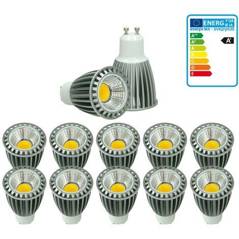 ECD Germany 10x LED Spot 9W COB GU10 - Equivale 60W Halógeno - 220-240V - Ángulo de haz de 60 ° - 552 lúmenes - 2800K Blanco cálido - Lámpara de foco