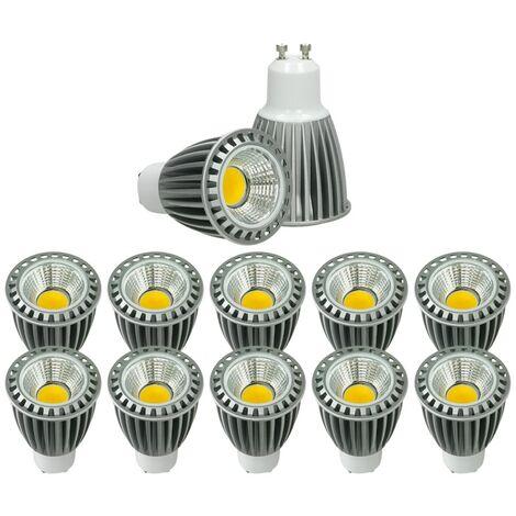 ECD Germany 10x LED Spot 9W COB GU10 - Equivale 60W Halógeno - 220-240V - Ángulo de haz de 60 ° - 552 lúmenes - 4000K Blanco frío - Lámpara de foco