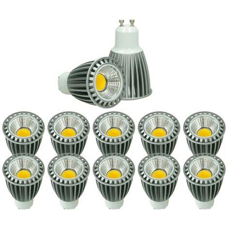 ECD Germany 10x LED Spot 9W COB GU10 - Equivale 60W Halógeno - 220-240V - Ángulo de haz de 60 ° - 552 lúmenes - 4000K Blanco neutro - Lámpara de foco