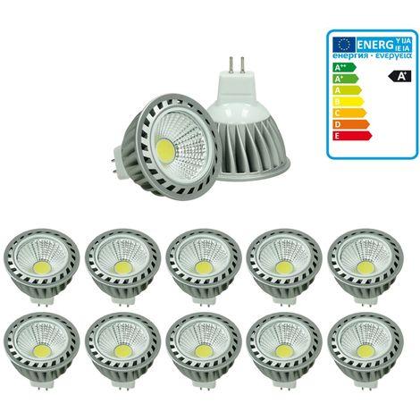 ECD Germany 10x LED Spot regulable 4W MR16 COB - Equivale 20W Halógeno - Ángulo de haz de 60° - 240 lúmenes - blanco cálido 3000K - Lámpara de foco