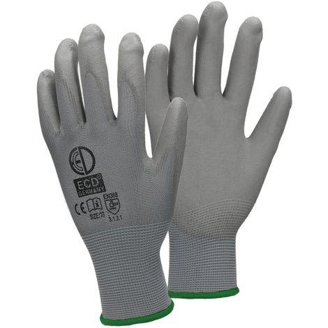ECD Germany 12 paires PU gants de travail, taille 11 XXL, couleur gris, gants de mécanique, gants de travail en nylon jardin, constructeurs, gants de mécanique