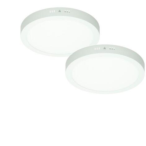 ECD Germany 2 x Lámpara de techo panel LED 18W AC 220-240 V 1225 Lumen Ø 220 mm 160 ° Ángulo de haz IP53 Blanco frío