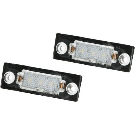 ECD Germany 2 x LED Kennzeichenbeleuchtung mit E-Prüfzeichen - 6000K Xenon Weiß - Canbus - Plug & Play - Fehlerfrei - LED Kennzeichenleuchte mit Zulassung Nummernschildbeleuchtung VW Skoda