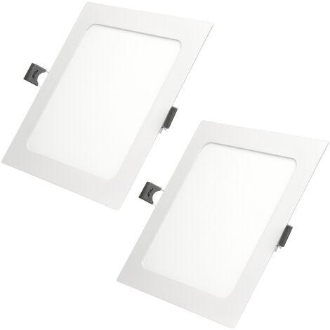 ECD Germany 2 x Ultraslim mince panneau de LED 12W encastré 17x17cm SMD 2835 Blanc chaud 3000K 220-240 V environ 678 lumens Plafonnier encastré Carré
