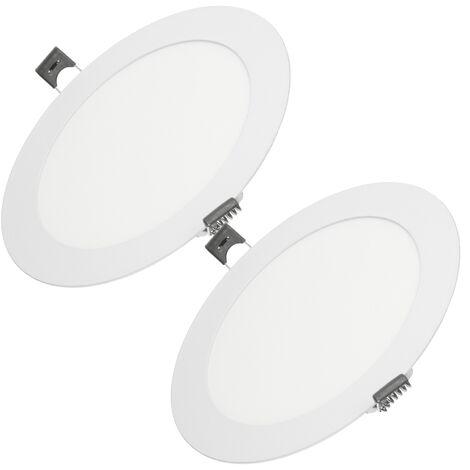 ECD Germany 2 x Ultraslim mince Panneau LED Projecteurs encastrés 12W Ø17cm SMD 2835 Blanc Froid 6000K 220-240 V environ 735 lumens Rond
