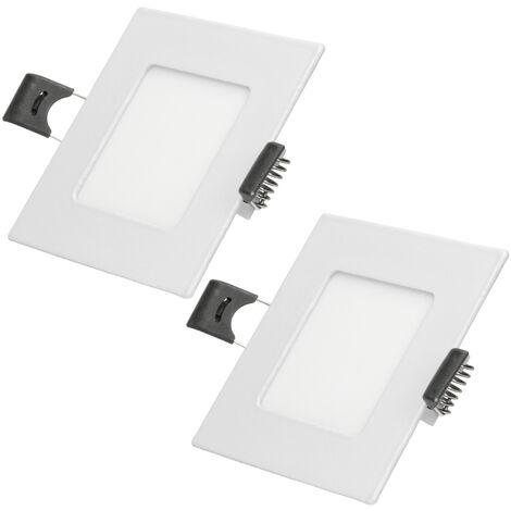 ECD Germany 2 x Ultraslim mince Panneau LED Projecteurs encastrés 3W 8,5 x 8,5 cm SMD 2835 Blanc Neutre 4000K 220-240 V environ 129 lumens Plafonnier encastré Carré