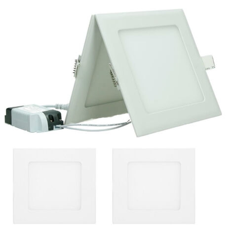 ECD Germany 2 x Ultraslim mince Panneau LED Projecteurs encastrés 9W 14,2 cm x 14,2 SMD 2835 Blanc Chaud 3000K 220-240 V environ 678 lumens Plafonnier encastré angulaire