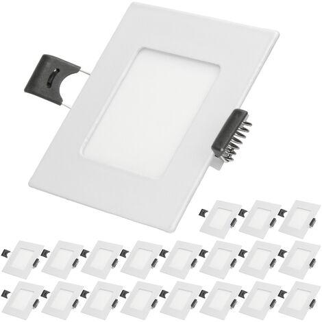 ECD Germany 20 x Ultraslim mince Panneau de LED à encastrer 3W 8,5 x 8,5 cm SMD 2835 6000K Blanc Froid 220 - 240 V environ 131 lumens Plafonnier encastré angulaire