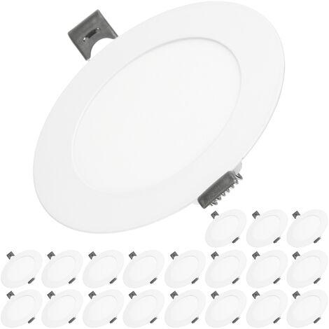 ECD Germany 20 x Ultraslim mince Panneau LED encastré 6W Ø12cm SMD 2835 Blanc Chaud 3000K 220-240 V 312 lumens Plafonnier encastré Rond