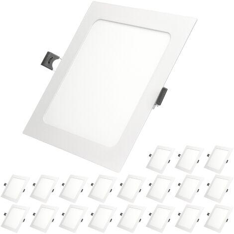 ECD Germany 20 x Ultraslim mince Panneau LED Projecteur encastré 12W 17x17cm SMD 2835 Blanc Chaud 3000K 220-240 V environ 678 lumens Plafonnier encastré carré
