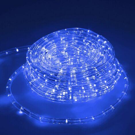 ECD Germany 20m LED Tubo de luz azul de decoracion exterior - interior Luces LED IP44 220-240V Ø 10.5mm 36LED/m [Clase de eficiencia energética A +]