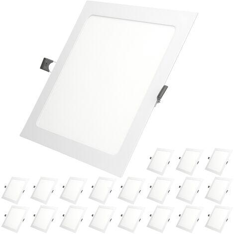 ECD Germany 20x LED Foco empotrable LED 12W - foco de techo de panel ultradelgado - 220-240V - 22 x 22 cm - blanco frío 6500K - focos empotrados cuadrados para salón baño o cocina[clase energética A]