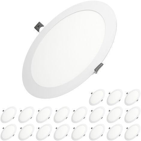 ECD Germany 20X LED Foco empotrable LED 18W - foco de techo de panel ultradelgado - 220-240V - SMD 2835 - Ø22 cm - blanco cálido 3000K - foco empotrable redondo para pasillo, baño o cocina [clase energética A]