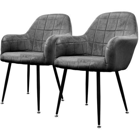 ECD Germany 2er Set Esszimmerstühle Esszimmerstuhl mit Armlehne - Dunkelgrau - Sitzfläche aus Samt - Gestell aus Metall - Küchenstühle Küchenstuhl Wohnzimmerstühle Wohnzimmerstuhl Polsterstuhl Sessel