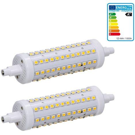 ECD Germany 2x Bombilla LED R7S 12W - 118mm - 720 Lumen - equivale a una bombilla halógena de 60W - Ángulo de haz de 360° - Blanco frio 6000K - Lámpara de iluminación halógena de barra