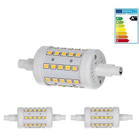 ECD Germany 2x Bombilla LED R7S 7W - 78mm - 480 Lumen - equivale a una bombilla halógena de 40W - Ángulo de haz de 360° - Blanco frio 6000K - Lámpara de iluminación halógena de barra