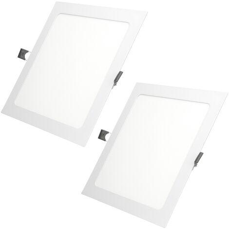 ECD Germany 2x LED Foco empotrable LED 12W - foco de techo de panel ultradelgado - 220-240V - 22 x 22 cm - blanco frío 6500K - focos empotrados cuadrados para salón baño o cocina[clase energética A]