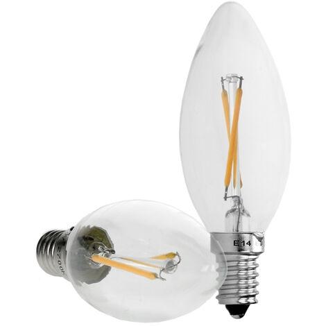 ECD Germany 2x Vela de filamento led E14 2w - Blanco calido 2800K - 204 Lumen - Equivale a 15W - Ángulo 120° - Lámpara incandescente