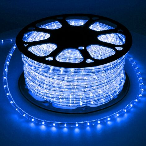 ECD Germany 30 m LED Tubo de luz azul de decoracion exterior - interior Luces LED IP44 220-240V Ø 10.5mm 36LED / m [Clase de eficiencia energética A +]