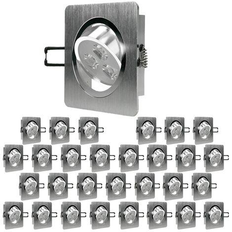 ECD Germany 30 x LED foco empotrable LED 3W 230V - Regulable - Cuadrado 92 x 92 mm - 234 lúmenes - Blanco frío 6000K - Giratorio 30 ° - IP44 - Luminaria empotrada Foco de lámpara [Clase energética A]