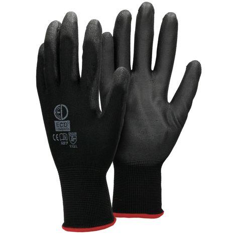 ECD Germany 4 paires de gants de travail PU, taille 7-S, couleur noire, des gants de mécanique, gants de travail en nylon jardin, les constructeurs, gants de mécanique