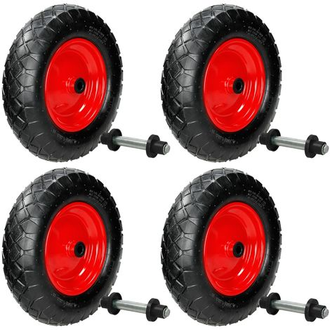 ECD Germany 4 Stück Schubkarrenrad luftbereift - 4.80/4.00-8 - Ø 390 mm - mit Achse - 95 mm Breite - 200 kg - Stahlfelge - Luftrad Rad Ersatzrad Reifen für Schubkarre