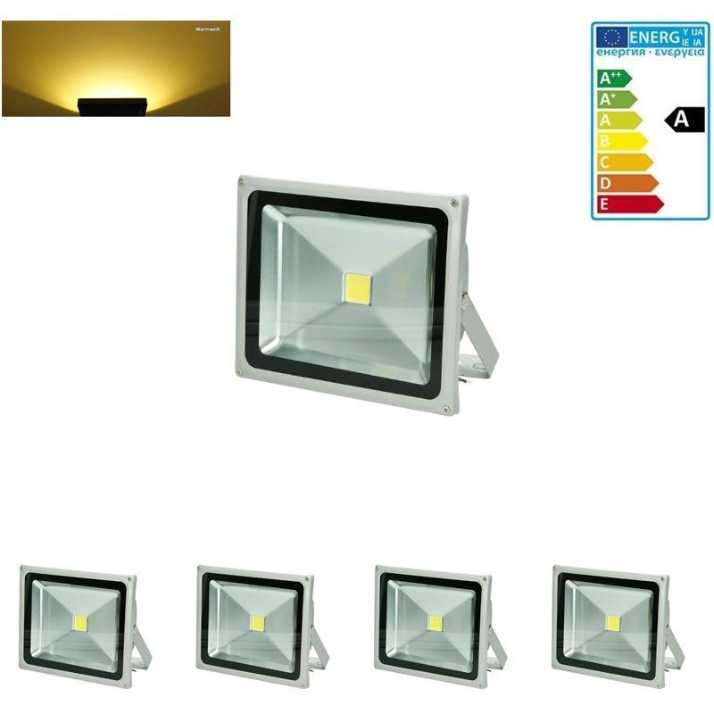 4 x Faretto Proiettore 30W LED AC 220-240V 1518 Lumen Luce Bianco Caldo 2800K Luce Faro da Esterno Giardino Cortile Garage IP65 Impermeabile - Ecd