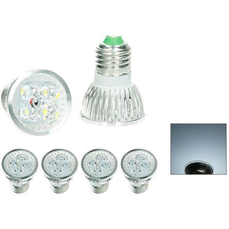 ECD Germany 4 x 4W E27 Luminaria LED para lámpara spot sustituye lámpara halógena de 20W aprox. 314 lúmenes blanco frío 6000K