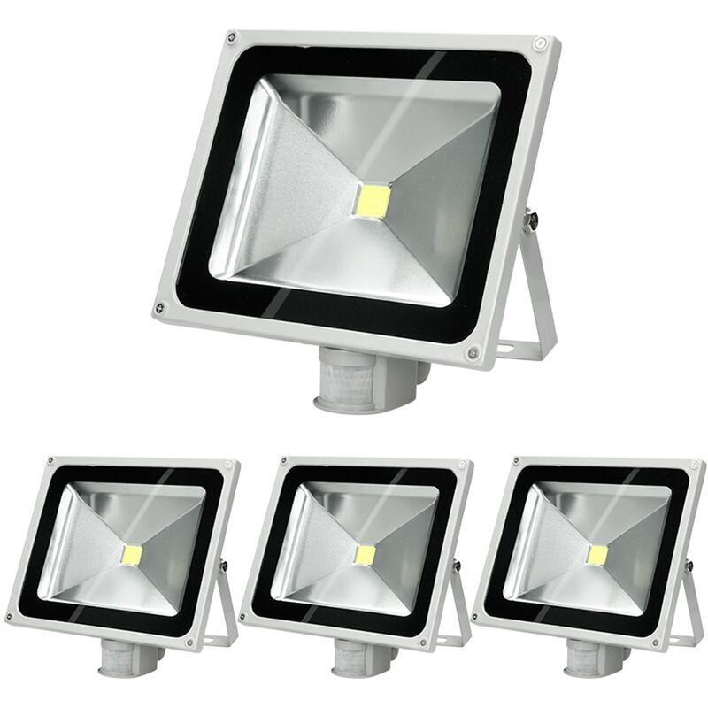 4 x Faretto Proiettore LED 50W con Sensore di Movimento AC 220-240V 2585 Lumen Bianco Caldo 2800K Luce Faro da Esterno IP65 Impermeabile Faro Faretti