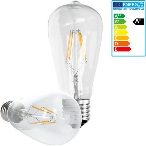 ECD Germany 4 x Bombilla LED Filamento E27 Clásico Edison 4W 408 Lumen 120 ° Ángulo de haz AC 220-240V aproximadamente 20W blanco cálido