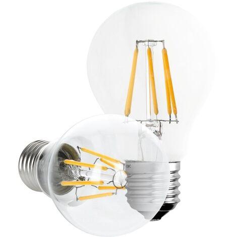 ECD Germany 4 x Bombilla LED Filamento E27 Clásico Edison 6W 612 Lumen 120 ° Ángulo de haz AC 220-240V aproximadamente 40W bombilla incandescente Lámpara blanco cálido