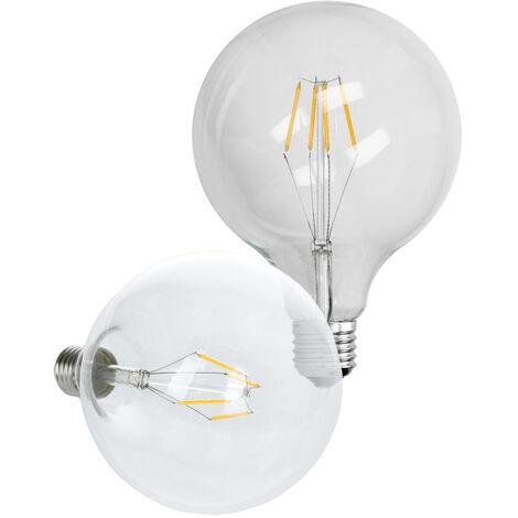 ECD Germany 4 x Bombilla LED Filamento E27 Edison 4W 125 mm 403 Lumen 120 ° Ángulo de haz AC 220-240V aproximadamente 20W lámpara incandescente Blanco cálido Globo luz de la lámpara