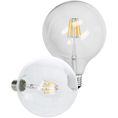 ECD Germany 4 x Bombilla LED Filamento E27 Edison 6W 125 mm 624 Lumen 120 ° Ángulo de haz AC 220-240V aproximadamente 40W Bombilla blanco cálido Globelampe Globo Lámpara Luz