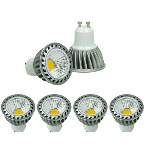 ECD Germany 4 x GU10 LED COB Spot 4W lámpara ahorro de energía aprox. 243 lúmenes sustituye lámpara halógena 30W blanco frío 6000K