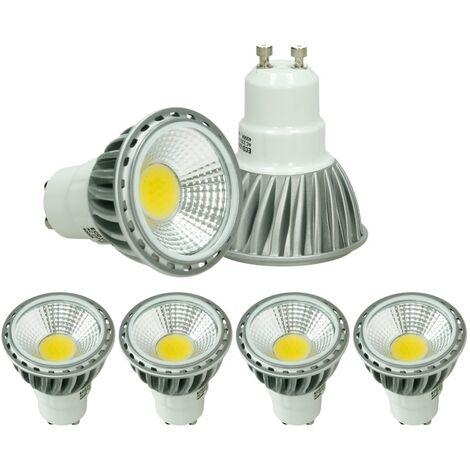 ECD Germany 4 x LED 6W COB GU10 Spot - Equivale 40W Halógeno - 220-240V - Ángulo de haz de 60 ° - 386 lúmenes - 4000K Blanco neutro - Lámpara de foco