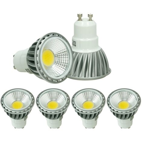 ECD Germany 4 x LED 6W COB GU10 Spot - Equivale 40W Halógeno - 220-240V - Ángulo de haz de 60 ° - 386 lúmenes - 6000K Blanco frío - Lámpara de foco