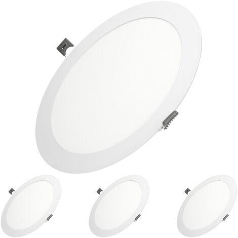 ECD Germany 4 X LED Foco empotrable LED 18W - foco de techo de panel ultradelgado - 220-240V - SMD 2835 - Ø22 cm - blanco cálido 3000K - foco empotrable redondo para pasillo, baño o cocina [clase energética A]