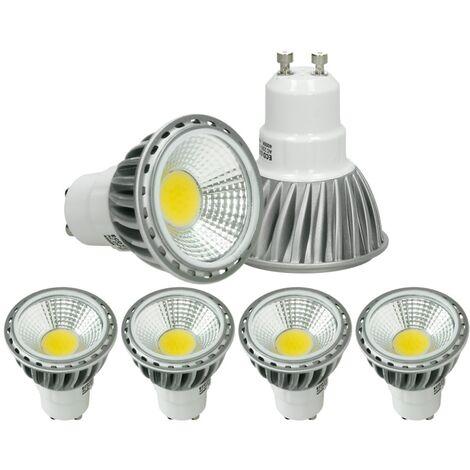ECD Germany 4 x LED Spot regulable 6W COB GU10 - Equivale 40W Halógeno - 220-240V - Ángulo de haz de 60 ° - 321 lúmenes - 4000K Blanco neutro - Lámpara de foco