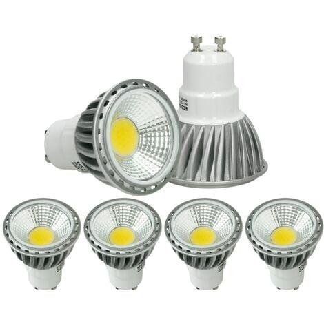 ECD Germany 4 x LED Spot regulable 6W COB GU10 - Equivale 40W Halógeno - 220-240V - Ángulo de haz de 60 ° - 321 lúmenes - 6000K Blanco frío - Lámpara de foco