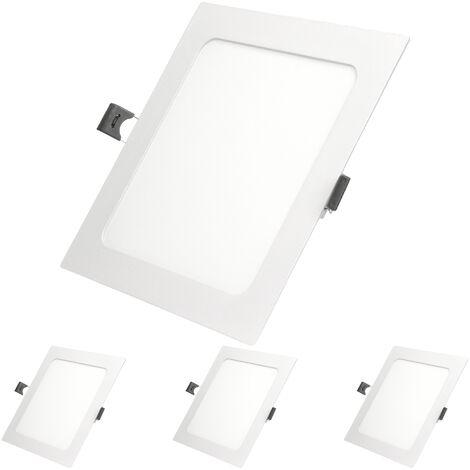 ECD Germany 4 x Ultraslim mince panneau de LED encastré 12W 17x17cm SMD 2835 Blanc chaud 3000K 220-240 V environ 678 lumens Plafonnier encastré Carré