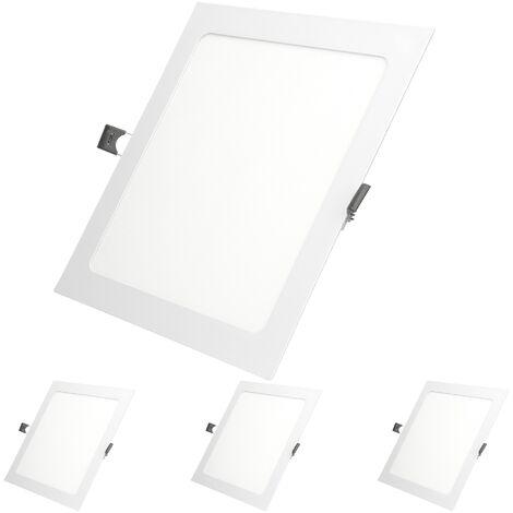 ECD Germany 4 x Ultraslim mince panneau de LED encastré 18W 22 x 22 cm 2835 SMD Blanc Chaud 3000K 220-240 V environ 1123 lumens Plafonnier encastré angulaire