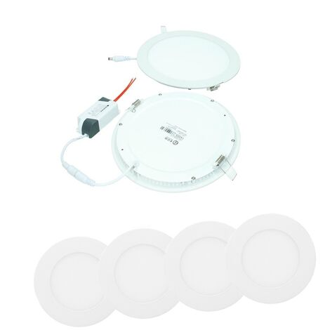 ECD Germany 4 x Ultraslim mince panneau encastrable LED 18W 22 x 22 cm SMD 2835 Blanc Froid 6000K SMD 220-240 V environ 1213 lumens Plafonnier encastré angulaire