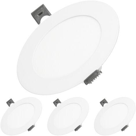 ECD Germany 4 x Ultraslim mince panneau LED luminaire encastré 6W Ø12cm SMD 2835 Blanc chaud 3000K 220-240 V 312 lumen plafonnier encastré rond