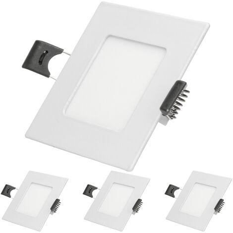 ECD Germany 4 x Ultraslim mince panneau LED Projecteurs encastrés 3W 8,5 x 8,5 cm SMD 2835 Blanc Chaud 3000K 220-240 V environ 123 lumens Plafonnier encastré Carré