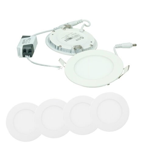 ECD Germany 4 x Ultraslim mince panneau LED Projecteurs encastrés 6W SMD 2835 Ø12cm Blanc Froid 6000K 220-240 V environ 339 lumens Rond