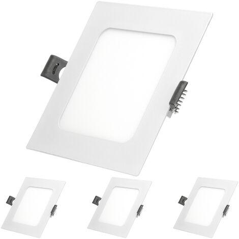 ECD Germany 4 x Ultraslim mince panneau LED Projecteurs encastrés 6W SMD 2835 12x12cm Blanc Froid 6000K 220-240 V environ 332 lumens Plafonnier encastré Carré