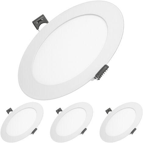 ECD Germany 4 x Ultraslim mince panneau LED Projecteurs encastrés 9W Ø14.2cm SMD 2835 Blanc Froid 6000K 220-240 V environ 575 lumens Rond